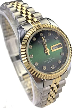 Swanson Japan Women Watch Reloj de Mujer Two Tone Green face New