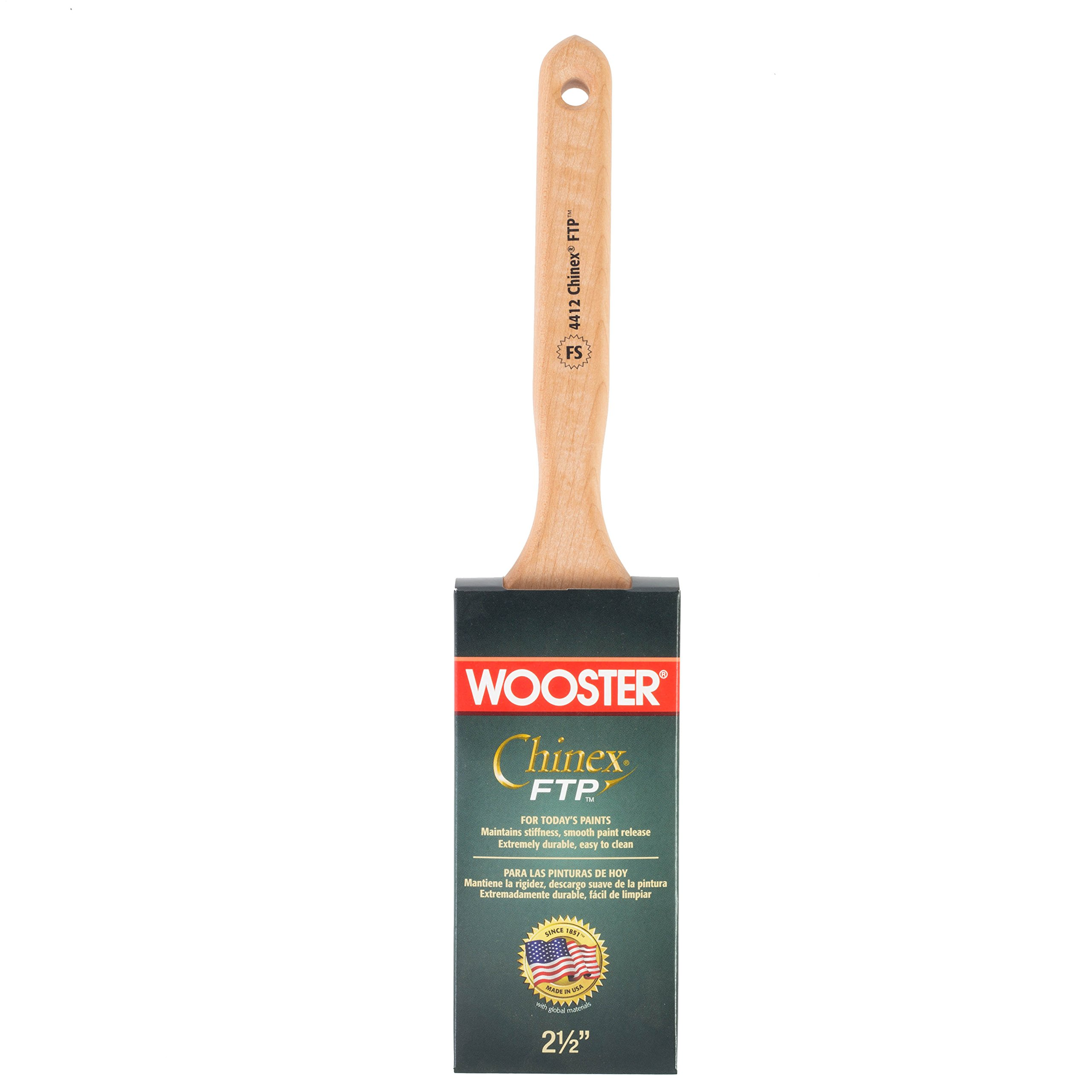 Wooster Brush 4412-2 1/2 Chinex FTP Flat Sash Paintbrush, 2 1/2 Inch