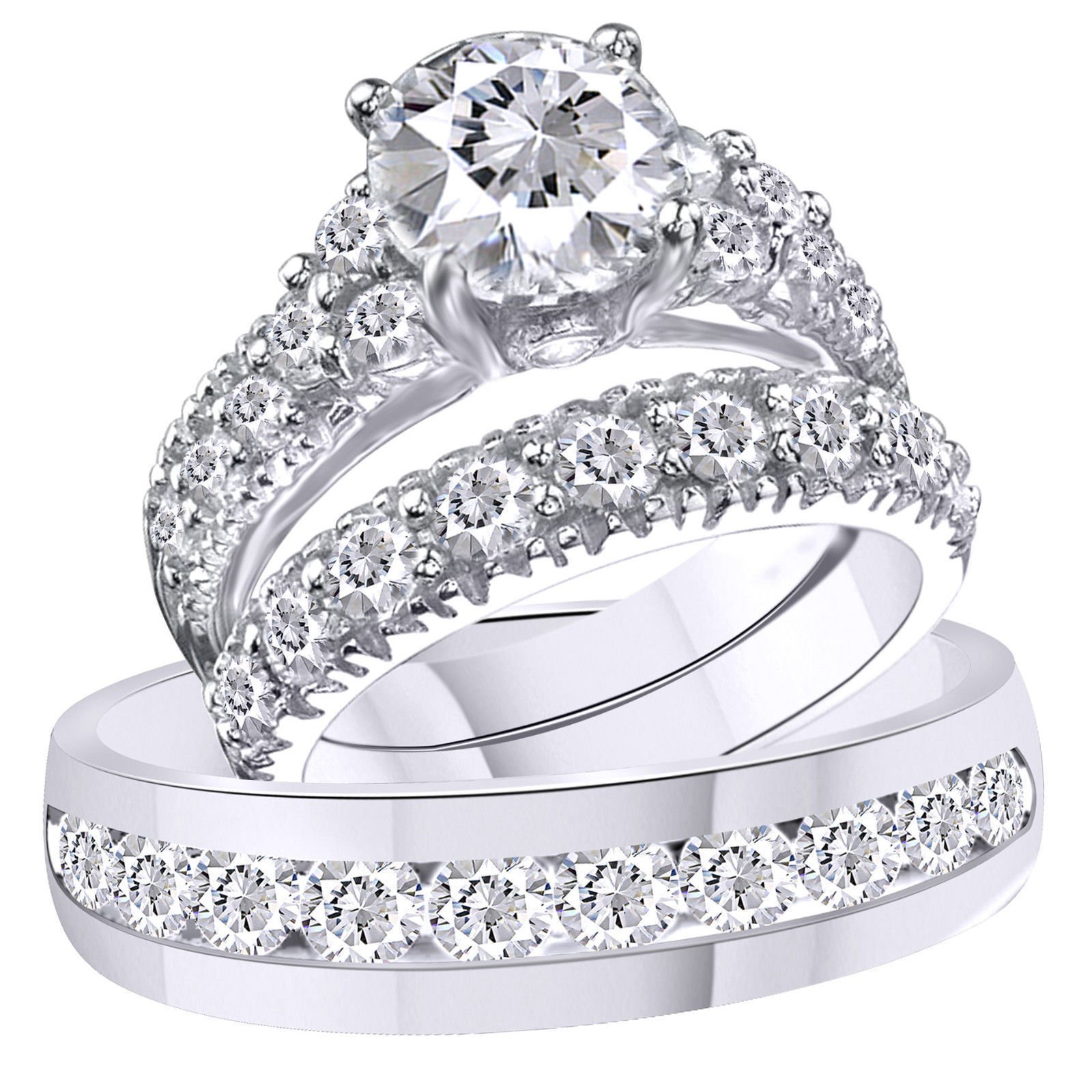 2heart 3.75 Ct Diamond 14k White Gold Fn Trio Engagement Wedding Ring Set For His & Her by 2heart