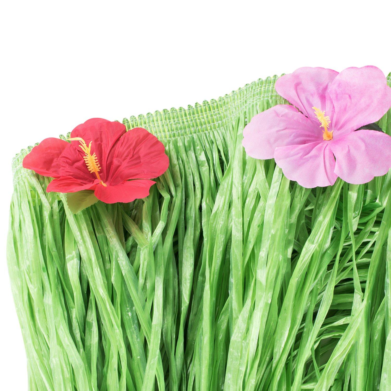 Amazon Hawaiian Table Skirt Luau Green String Hibiscus Leis