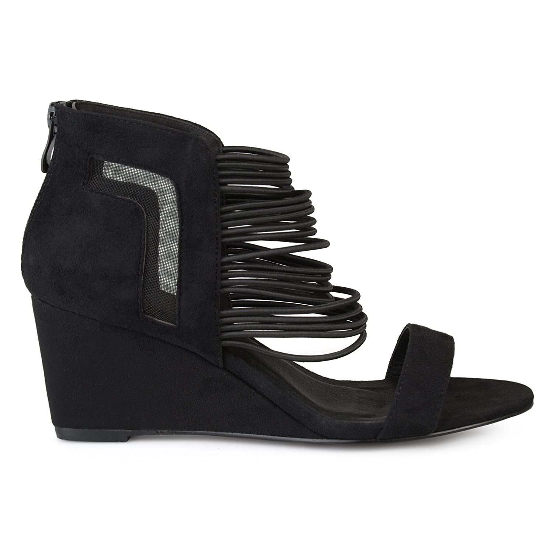 Brinley Co. Womens Faux Suede Open-toe Multi-strap Wedges B073VYT2X6 11 B(M) US|Black