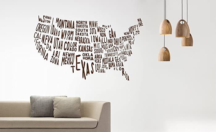 Amazon.com: USA map wall decal with states for office, classroom ...