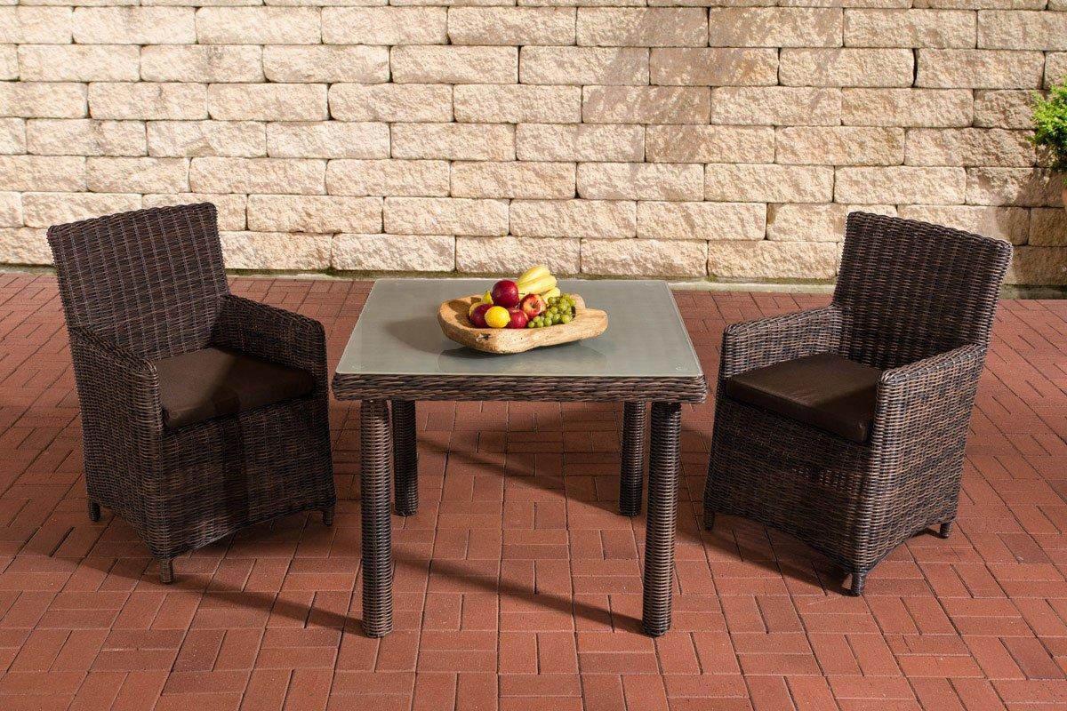 Gartenmöbel, Gartenmöbel-Set, Sitzgruppe Dorado M100, braun-meliert / terra-braun, Polyrattan-Aluminium-Gestell, Gartengarnitur, Sitzgarnitur.