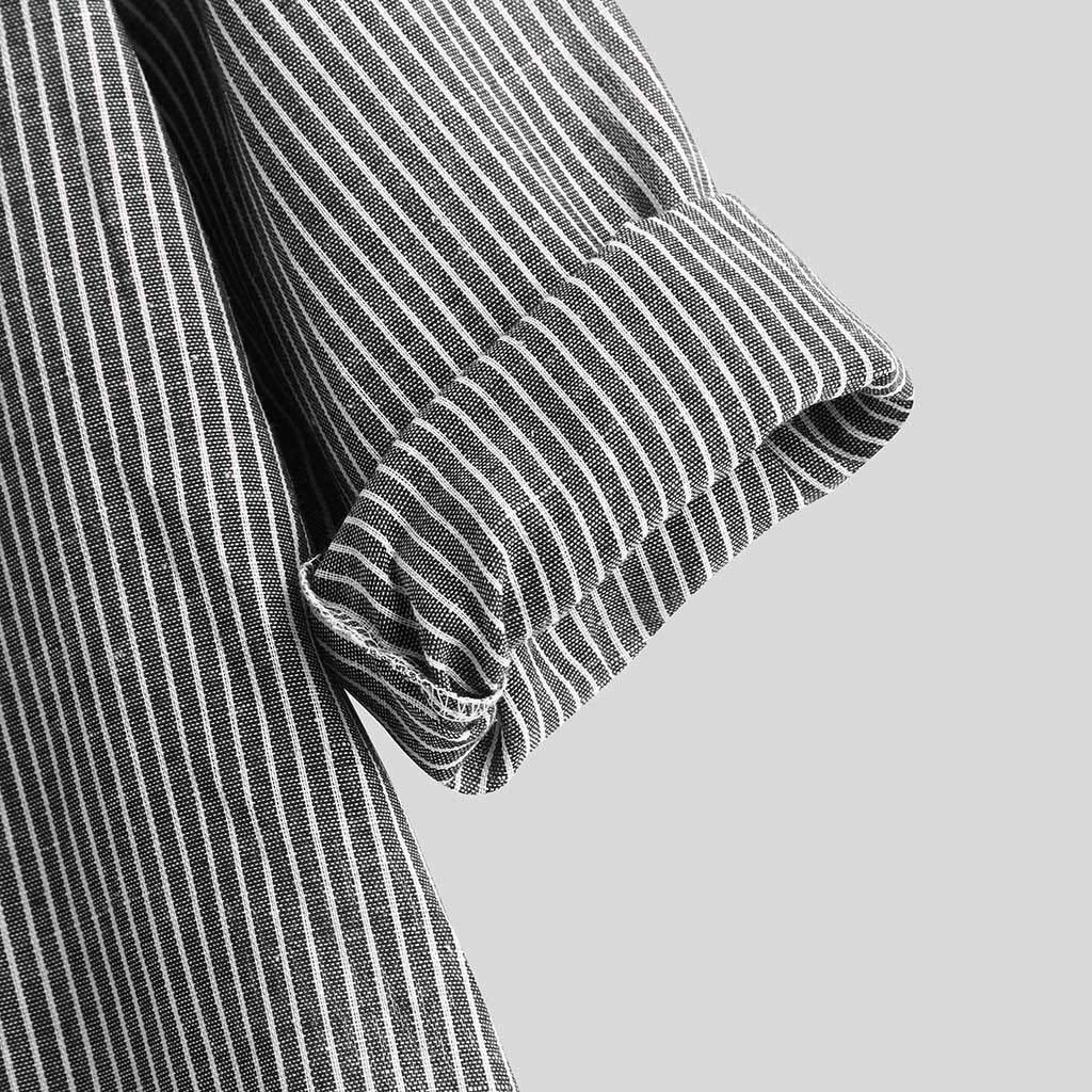 Beautyfine Mens Long Sleeve Casual Linen Button T Shirt Simple Stripe Loose Blouse Top