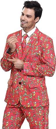 YOU LOOK UGLY TODAY Modisch Herren Party Anzug Weihnachten Kostüme Party Suits Festliche Anzüge mit lustigen Gespenst Mustern SchwarzS