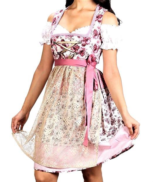 Bavarian Clothes - Vestido Dirndl - Trapecio o Corte en A - para Mujer Rosa Palo