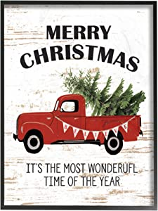 """The Stupell Home Décor Collection Christmas Most Wonderful Time Vintage Truck Oversized Framed Giclee Texturized Art, 16"""" x 20"""""""