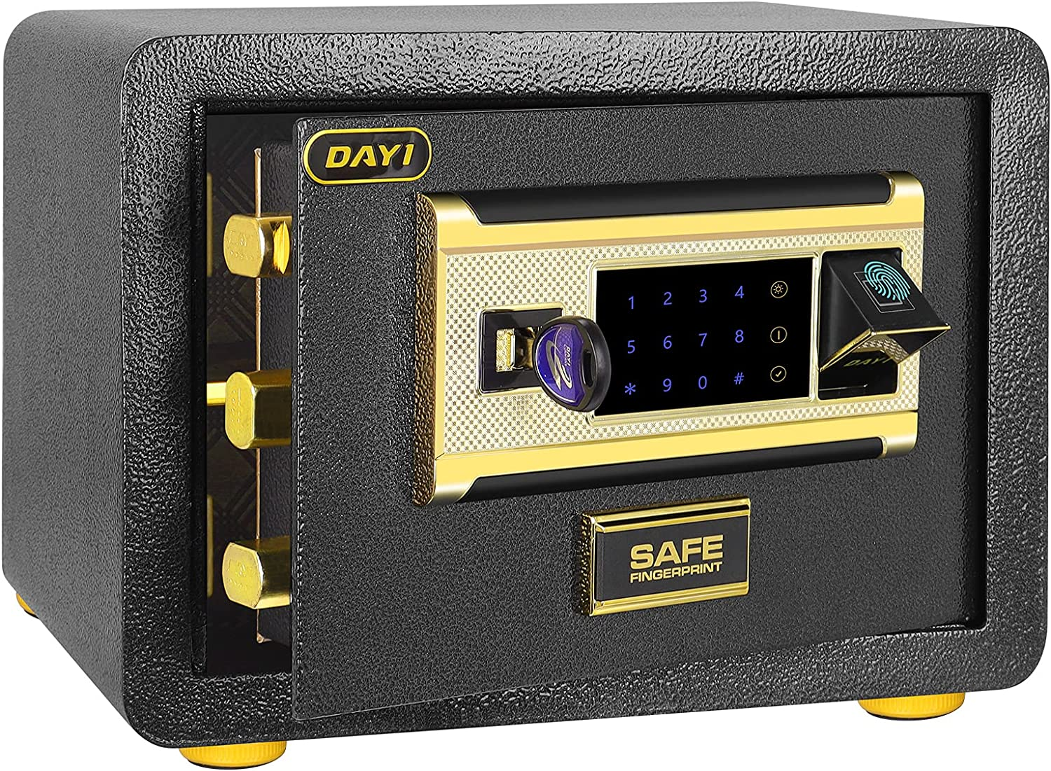 Safe Box, Fingerprint Safe Digital Security Safe 14 x 10 x 10 inches Home Safe with Induction Light for Storing Jewelry/Gun/Cash/Important Documents (Gold Lock Bolt)