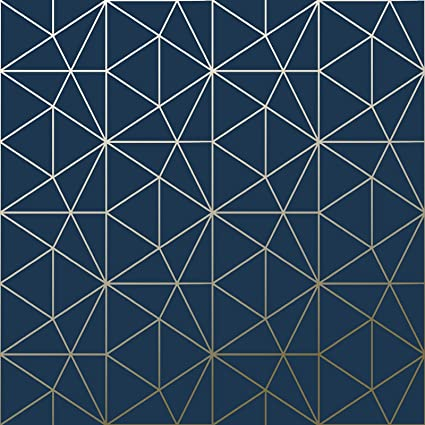 metro prism geometric triangle wallpaper navy blue and gold