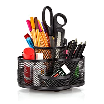 Escritorio orden Sistema giratorio en negro – Grande y de calidad – Portalápices Frabricado metal –
