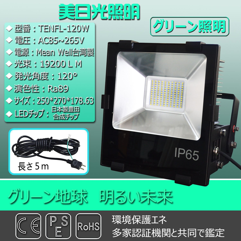 LED投光器120W 1200W相当 消費電力120W 19200LM 高輝度日本製LEDチップ Mean Well 電源 120度照射角度 85V/265V(100~200V)兼用 防雨型 屋外型 防虫型 採用の省エネ薄型投光器ライト IP65 規格の防水仕様 角度調節可能 店舗、G.S、看板、トンネル、駐車場、ライトアップ 屋内屋外兼用 LED水銀灯 LED作業灯 コードの長さ:5m サイズ:250*270*178.63mm 昼光色6000K B075Q3R452 22050