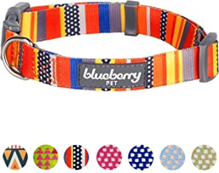 Blueberry Pet 10 Patterns Geometric Designer Dog Collars & 7 Patterns Personalized Collars, Matching Leash & Harness Available Separately