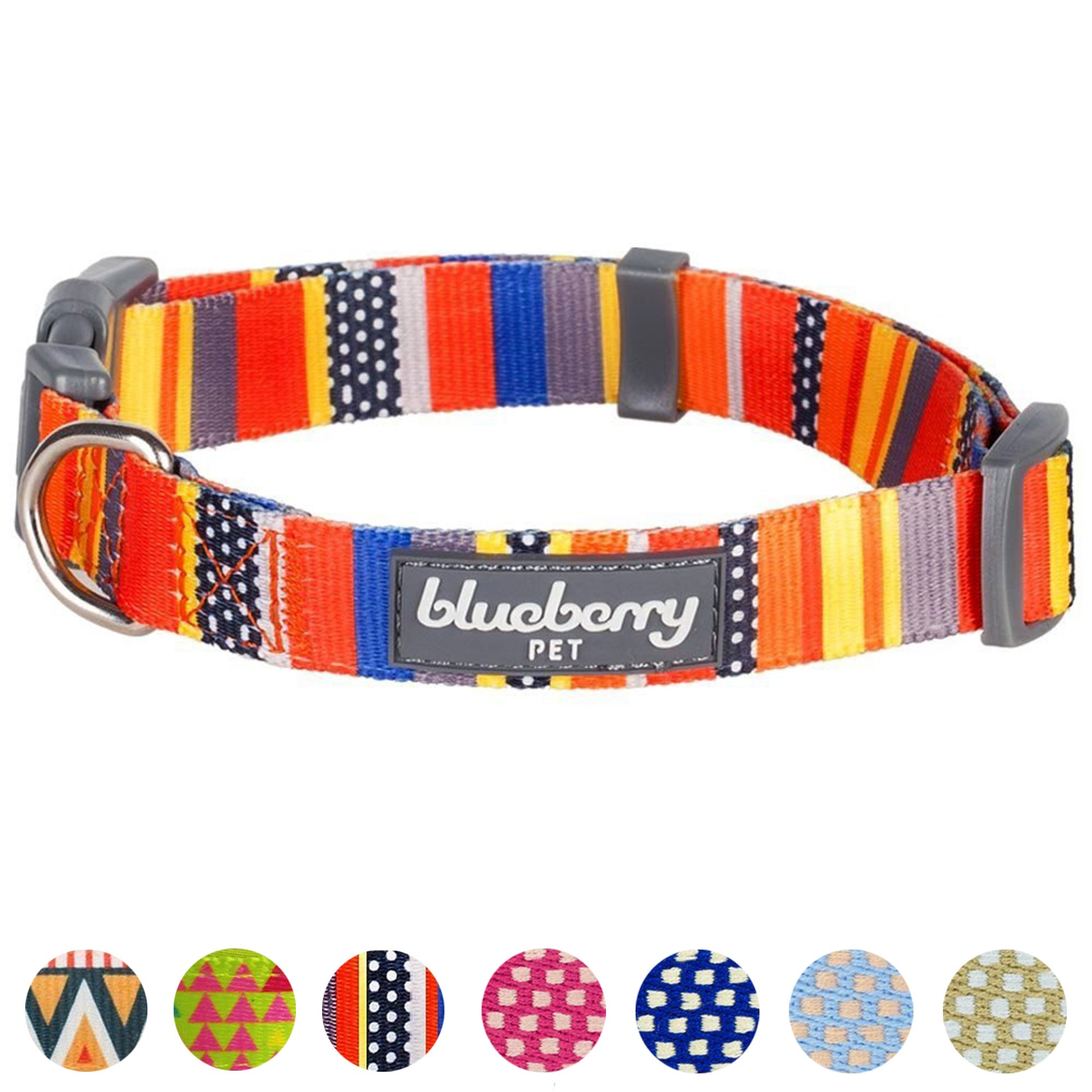 Blueberry Pet 8 Patterns Nautical Flags Inspired Designer Basic Dog Collar, Neck 14.5''-20'', Medium, Adjustable Collars for Dogs