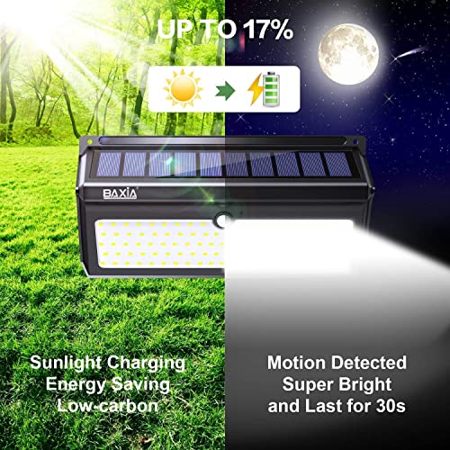 BAXIA TECHNOLOGY Solar Lights Outdoor, Wireless 100 LED Solar Motion Sensor Lights Waterproof Security Wall Lighting Outside for Front Door, Backyard, Steps, Garage, Garden 2000LM, 4PACK