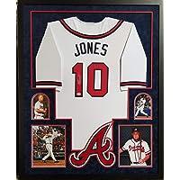 $399 » Chipper Jones Atlanta Braves Autograph Signed Custom Framed Jersey Suede Matted 4 Picture JSA Witnessed Certified