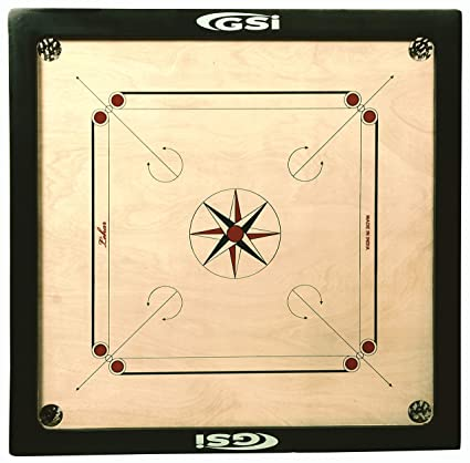 GSI Superior Matte Finish Practice Carrom Board for Serious Professional Practice with Coins Striker and Boric Powder, Beige (X-Large 33 inch 8mm)