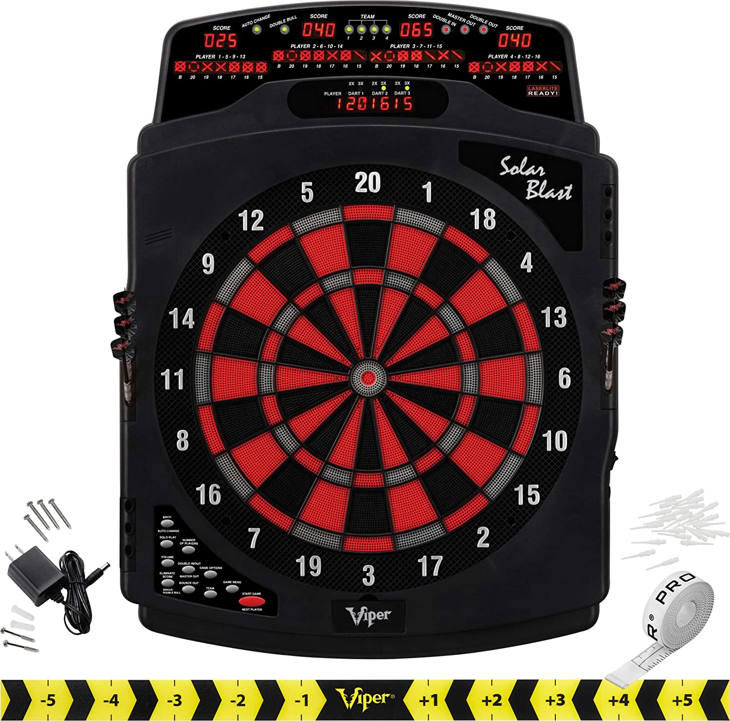 Viper Metropolitan Dartboard Cabinet and Solar Blast Electronic Dartboard Bundle with Shadow Buster Light and Laser Throw Line