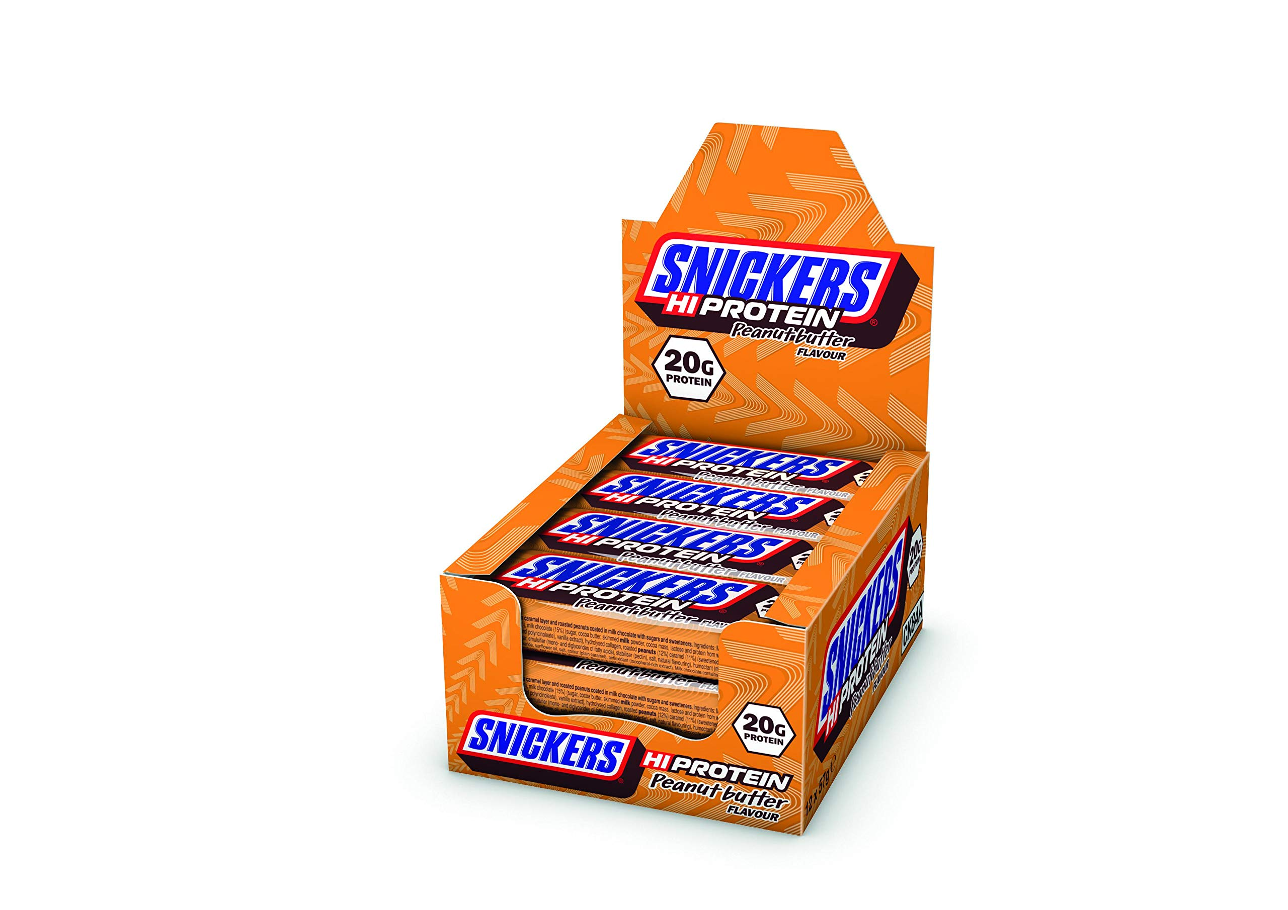Mars Protein Snickers Hi Flavour Bar (12 x 57g) High Snack with Caramel Peanuts and Milk Chocolate Contains 20g FID64798, Peanut Butter, 684 Gram