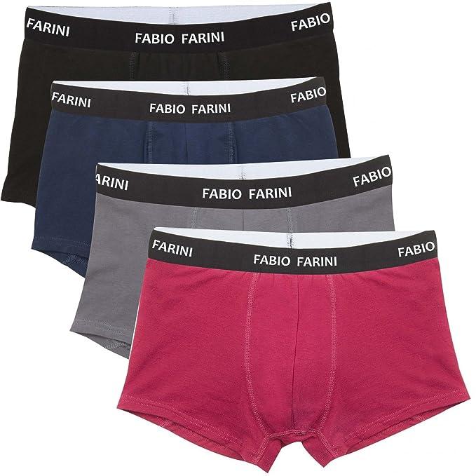 Fabio Farini Boxershort Paquete 4er-Hombres ropa interior de algodón pantalones, talla:M