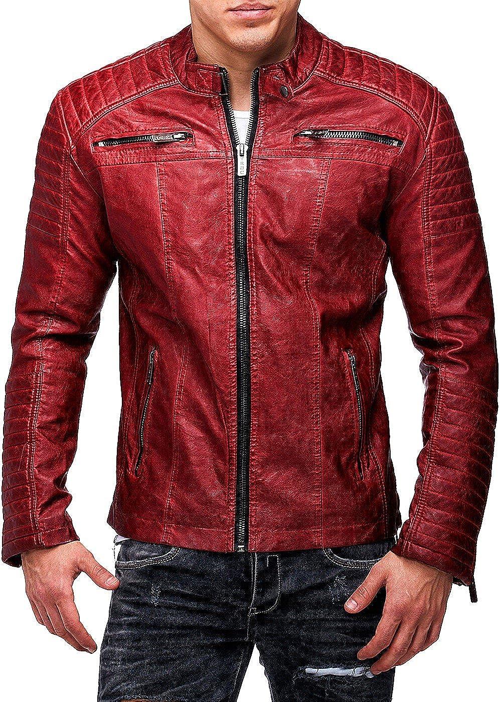 REDBRIDGE Hombre de cuero PU–Chaqueta de piel chaqueta Bike Step by Cipo Baxx Casual streetwear
