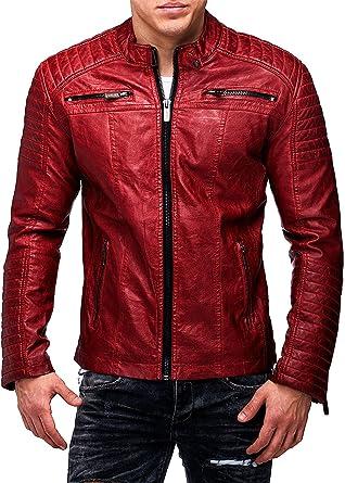 Red Bridge Hombres chaqueta de imitación de cuero de la chaqueta de cuero rojo tamaño M