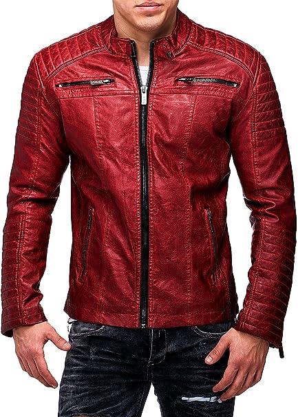 Red Bridge Hombres chaqueta de imitación de cuero de la chaqueta de cuero rojo tamaño S: Amazon.es: Ropa y accesorios