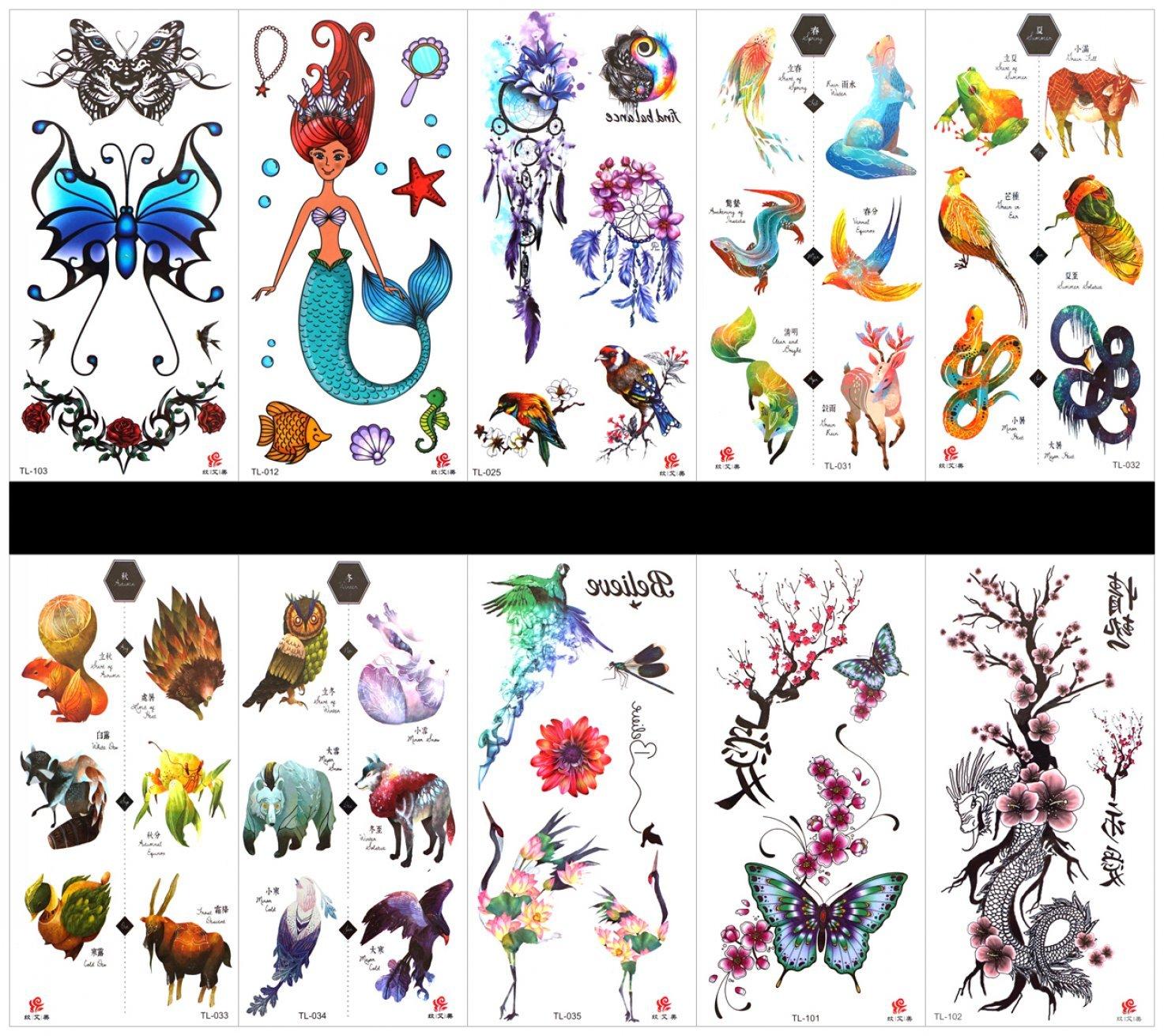 incluyendo peces, concha, estrella de mar, caballo de mar, aves ...