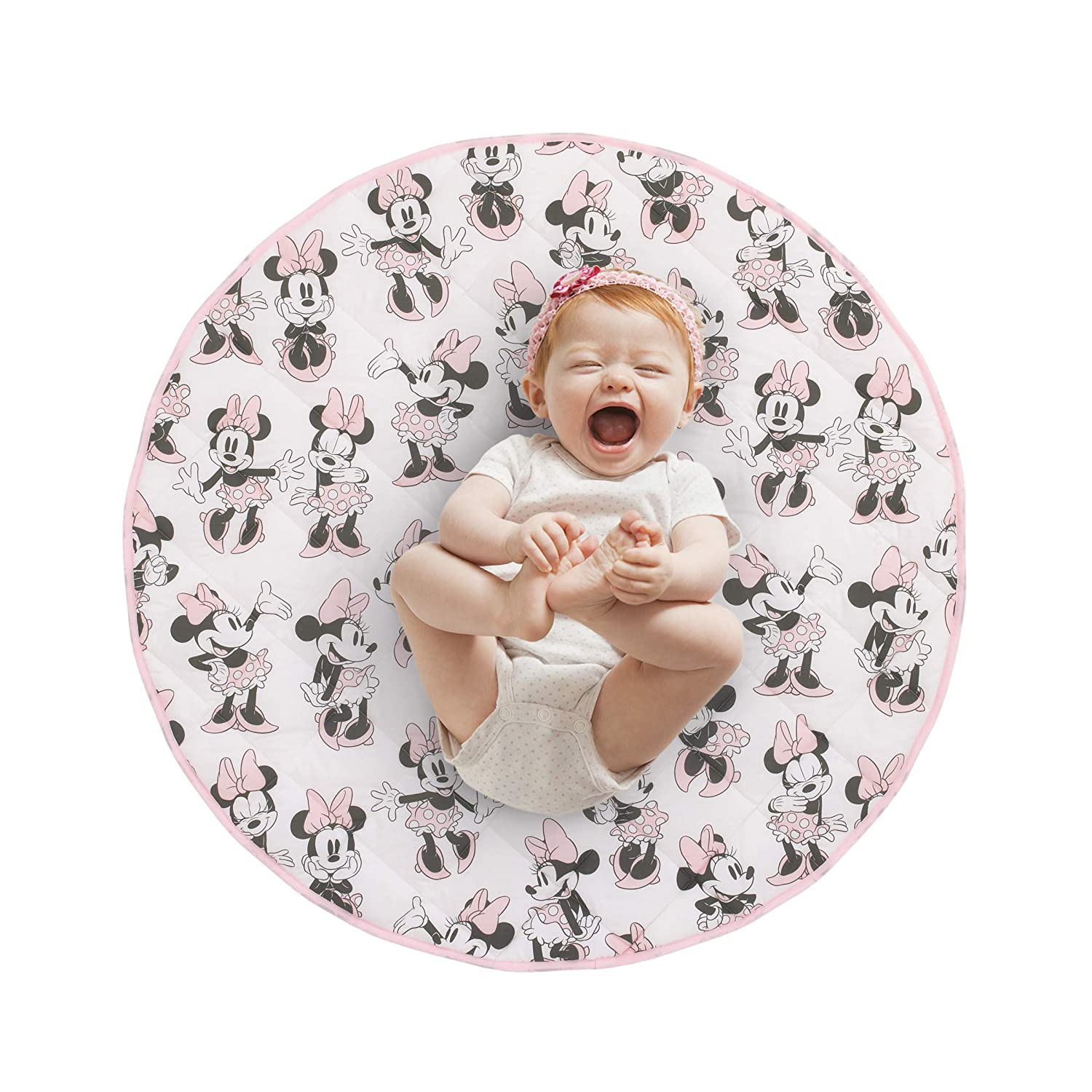 Disney Minnie Mouse Round Quilted Tummy Time Play-mat, Pink Grey White Black, 36