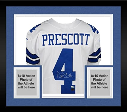 detailed look 1a131 cc9c9 Framed Dak Prescott Dallas Cowboys Autographed White Nike ...