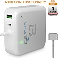 Macbook Pro Charger 60W Power Adapter Magsafe 2 T-tip Style Connector Replacement Macbook Pro Charger for Apple MacBook Pro Retina 11 inch / 13 inch White