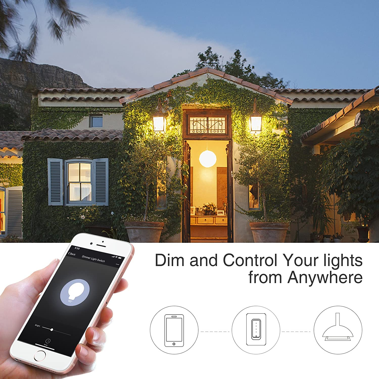 Oittm Dimmer Wi Fi Light Switch Smart Lighting Replacing Single Pole Control From Anywhere No Hub Required 400w Incandescent 150w Led Replace
