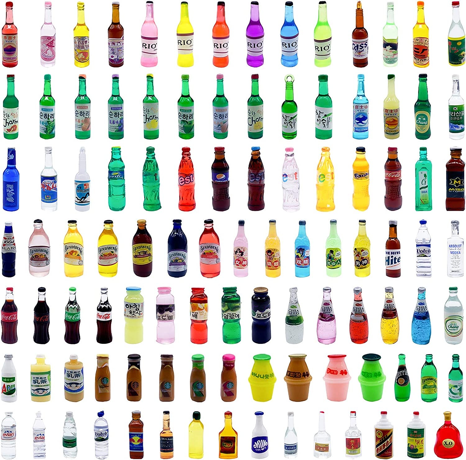ONEST 102 Pieces Miniature Food Drinks Bottles Dollhouse Play Food Kitchen Play Game Party Toys Doll Toys Dollhouse Toys, Drinks