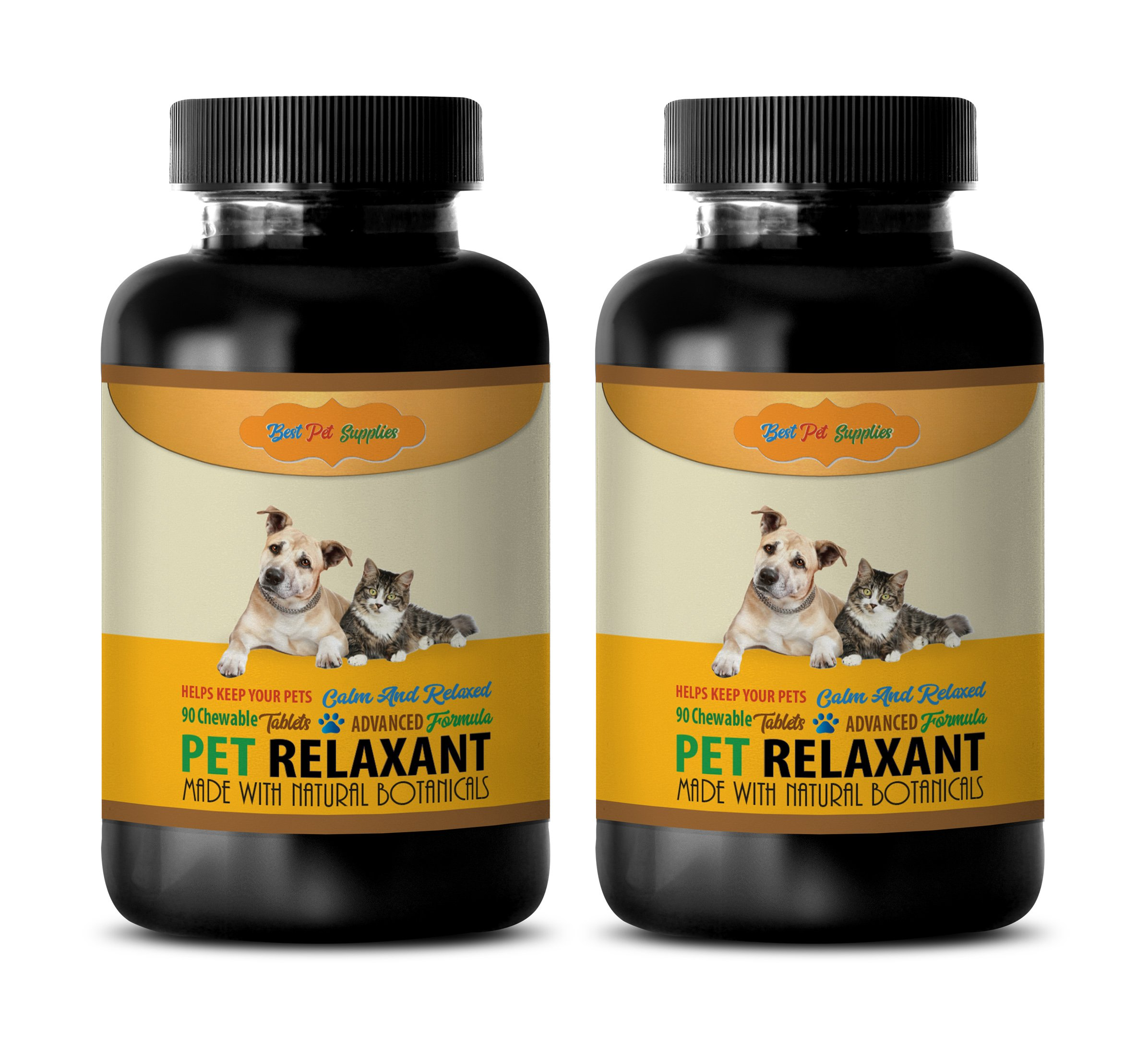 BEST PET SUPPLIES LLC calming cat treats - PET RELAXANT - FOR DOGS AND CATS - CALM AND RELAX YOUR PET - CHEWABLE - cat calming tablets - 180 Chews (2 Bottle) by BEST PET SUPPLIES LLC