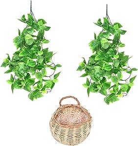 Artificial Hanging Plants with Basket 3.6ft Fake Ivy Vine Hanging Greenery Plants for Home Decor Indoor Outdoor Garden Room Wedding Decoration Ivy Leaves (Beige)