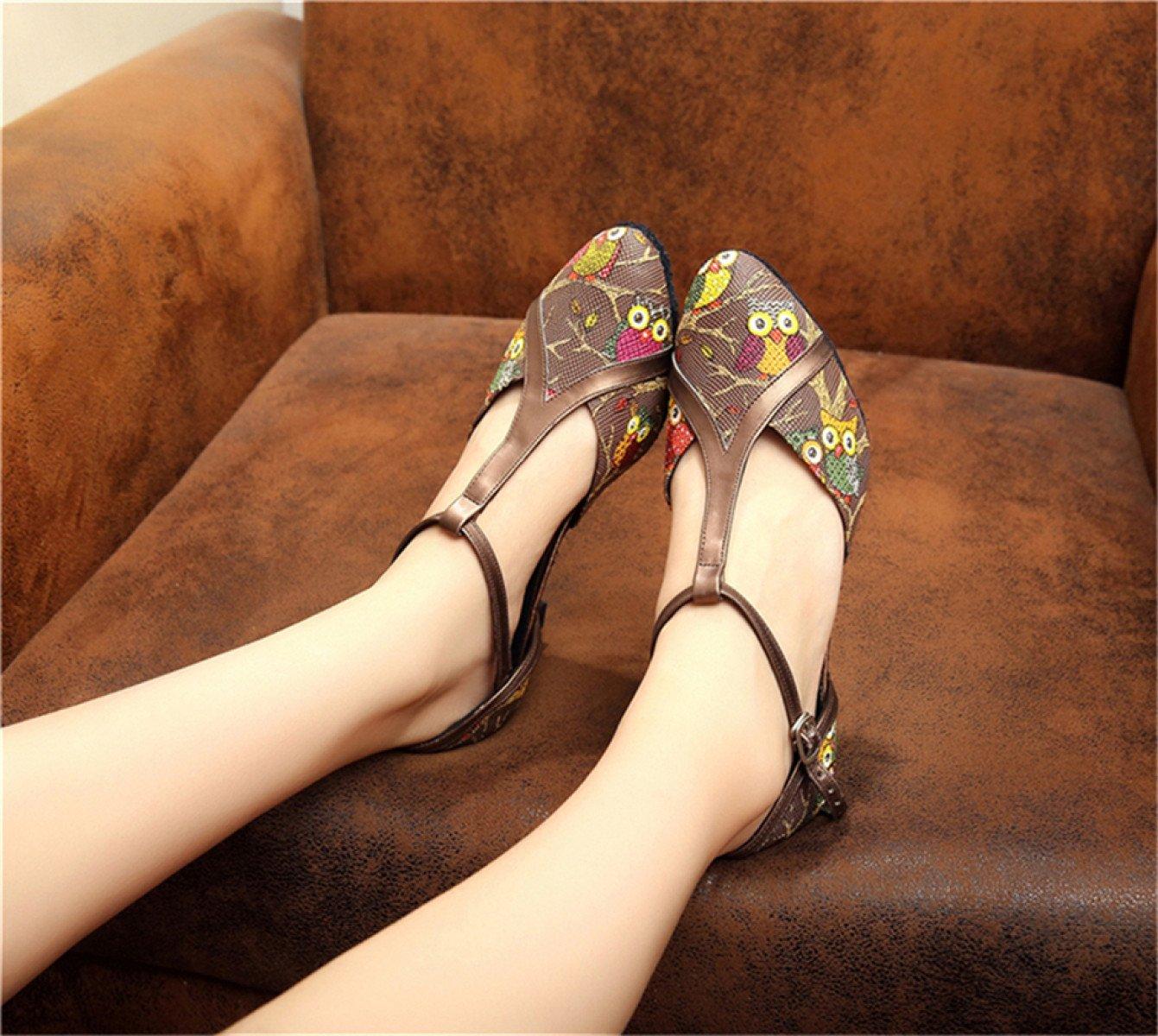 JSHOE Damenschuhe Latin Dance Geschlossene Zehe High High High Heel Salsa Tango Modern Jazz Schuhe Sandalen,Braun-heeled6cm-UK5.5/EU38/Our39 - 085288