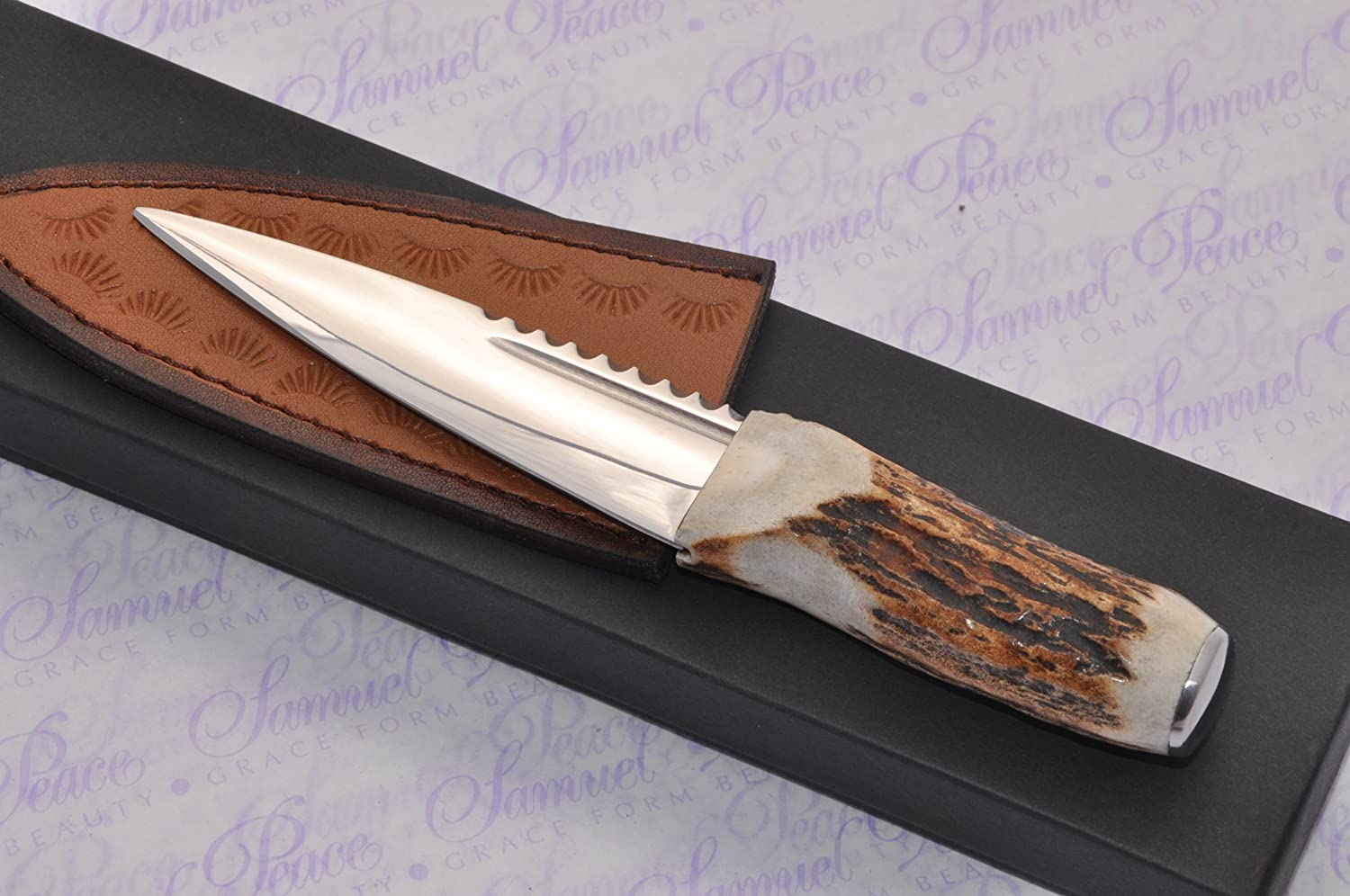 Genuine Sambar Stag Handle Sheffield Carbon Steel Sgian Dubh Boxed with Leather Sheath