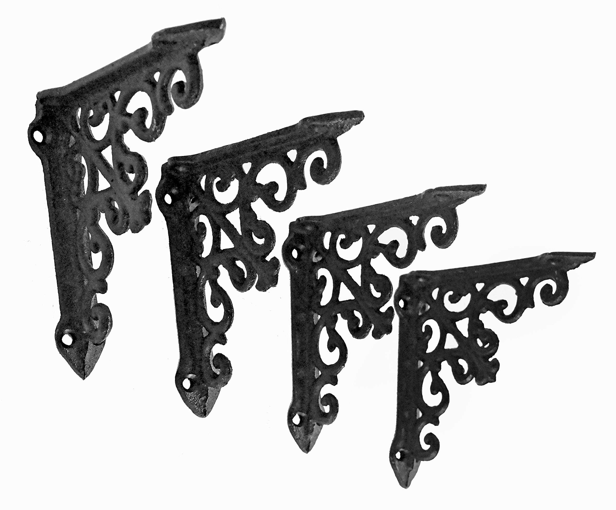 NACH js-90-061 Victorian Shelf Bracket (Pack of 4), Small, Black (5x1x5 inches)