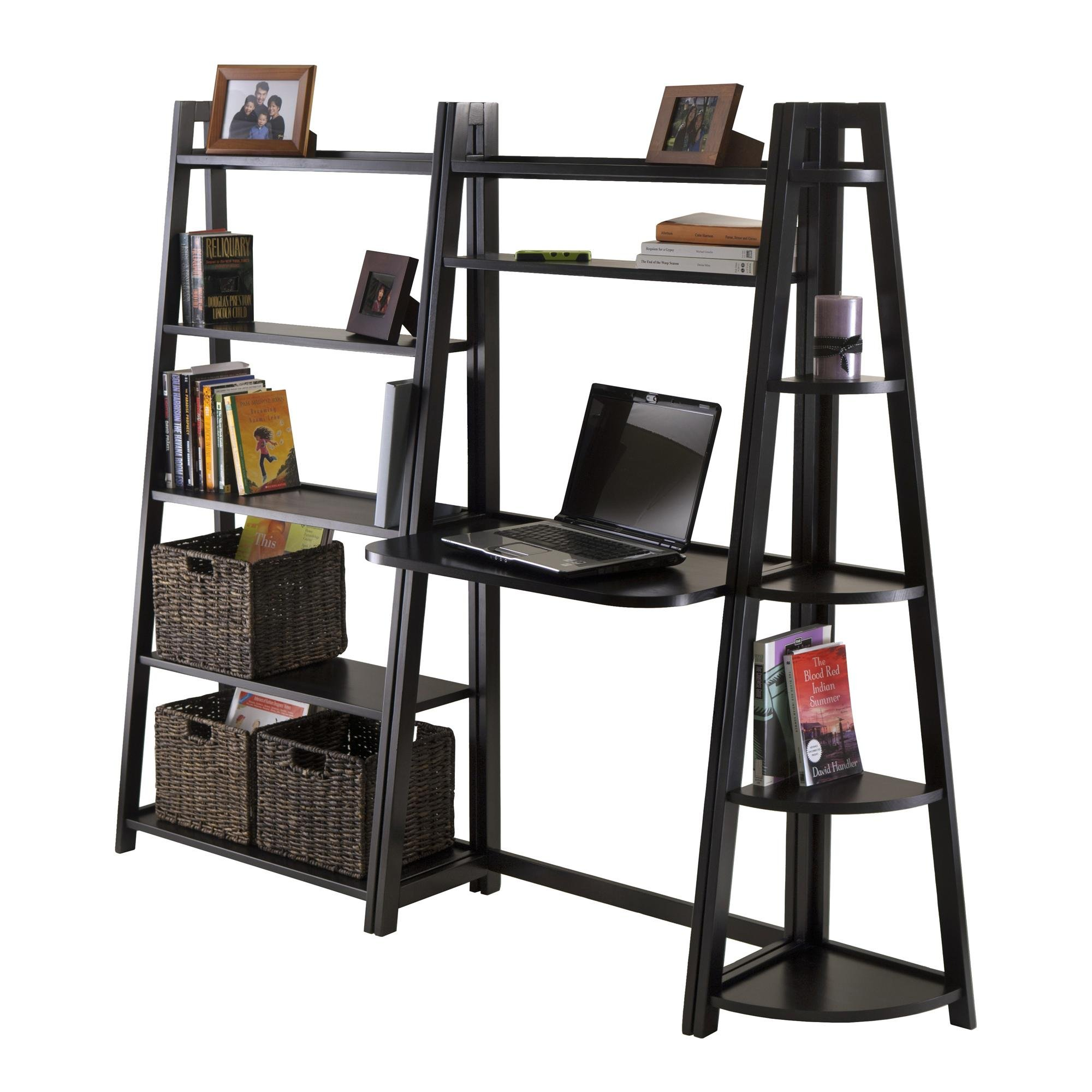Winsome Wood 3-Piece Adam Desk Shelf Set with 5-Tier Shelf and Corner Shelf