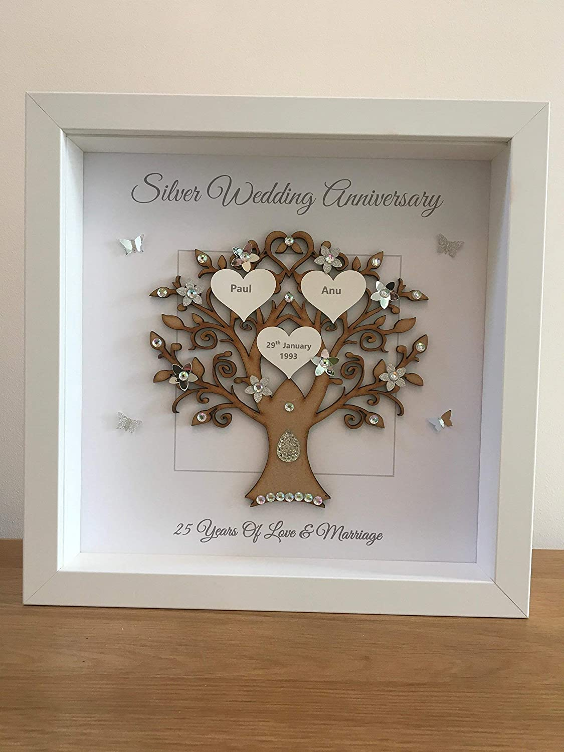 25th gift frame married in 1993 Silver wedding anniversary days. 25 years