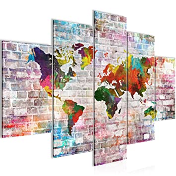 Bilder Weltkarte Steinwand Wandbild 150 X 100 Cm Vlies   Leinwand Bild XXL  Format Wandbilder Wohnzimmer