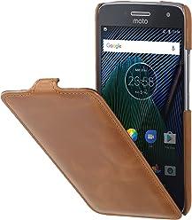 StilGut UltraSlim Case, custodia flip case in vera pelle per Lenovo Moto G5 Plus, cognac