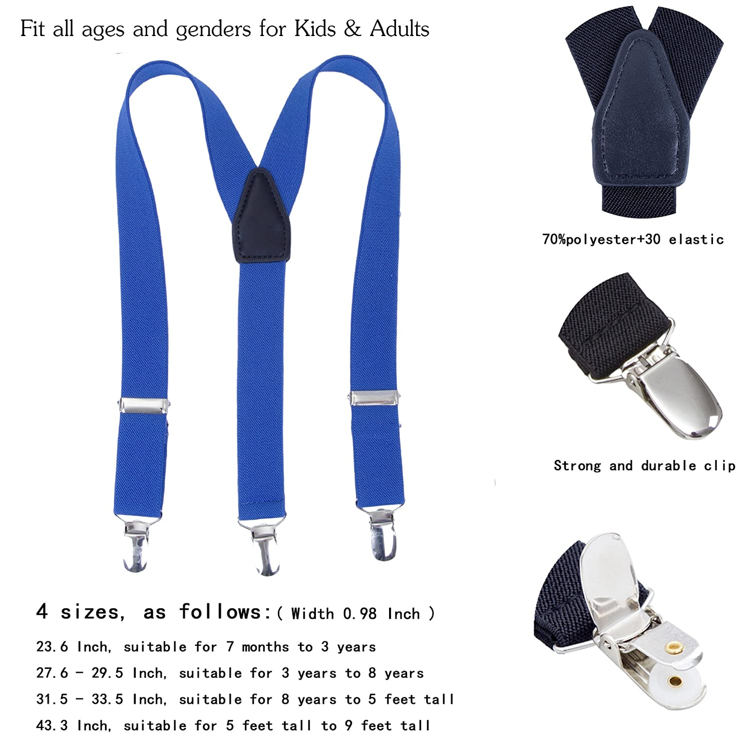 Classic Adjustable Y back Elastic Leather Childrens Suspenders 7 Months - 3 Years Suspenders for Toddlers Kids Boys Girls Red, 23.6 Inch