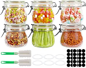 16oz Glass Jars with Airtight Lids, Glass Kitchen Storage Canister, Airtight Glass Canister with Hinged Lid for Preserving, Decorating, Canning Jar, Dry Food Storage, Spice, Sugar-Set of 6