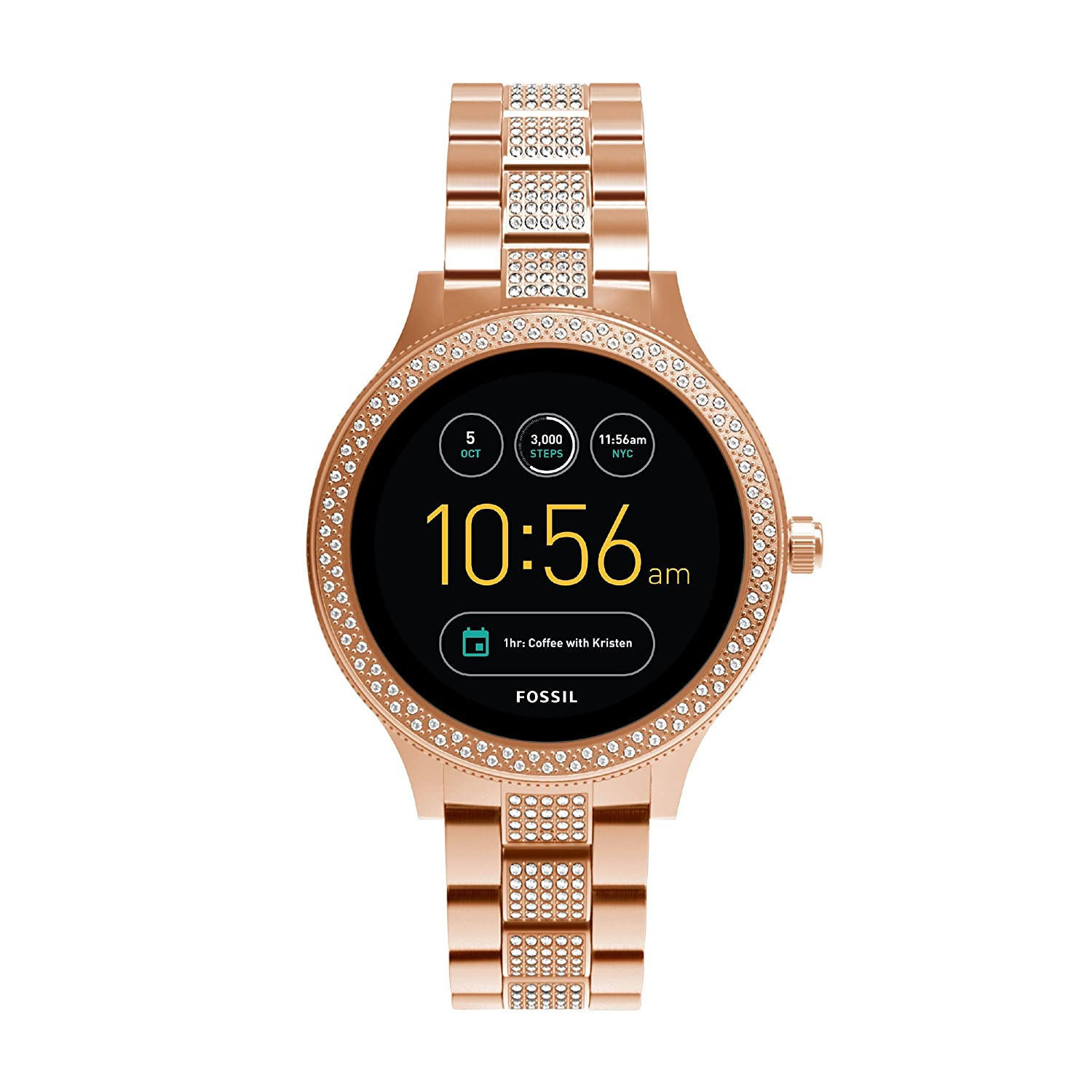 Fossil Womens Digital Connected Wrist Watch With Stainless Steel Jam Set Strap Ftw6008 Watches