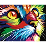 Paint by Numbers-DIY Digital Canvas Oil Painting Adults Kids Paint by Number Kits Home Decorations-Colorful Cat 16 * 20…