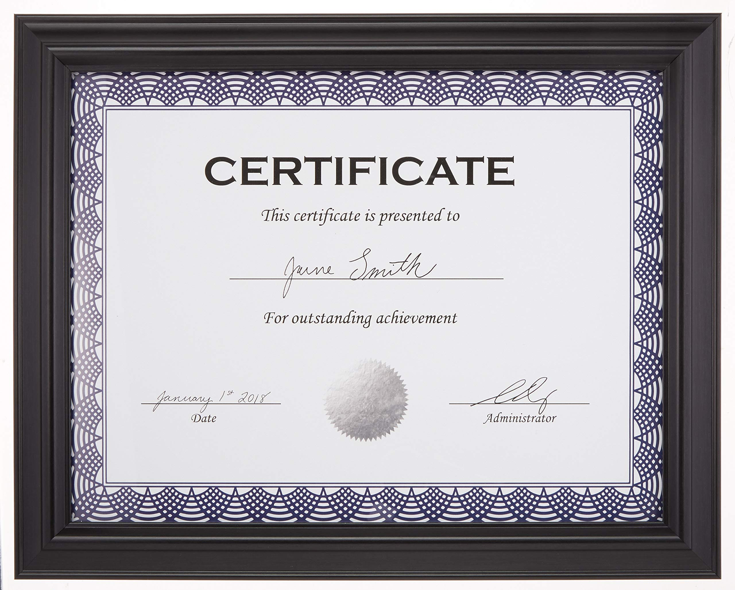 AmazonBasics Certificate Document Frame Without Mat, 8.5'' x 11'', Black, 3-Pack