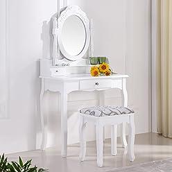 i-flair Schminktisch Kommode Spiegeltisch Spiegel inkl. Sitzbank im Barockstil weiß #35