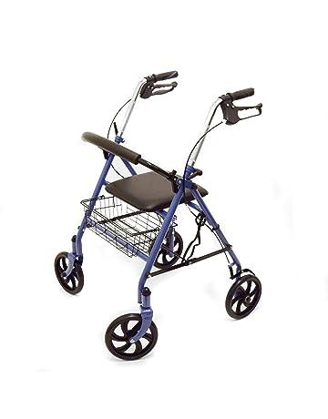 Ability Superstore – Andador Jay azul, ligero, 4 ruedas, con asiento acolchado y