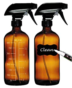 2 Empty Amber Glass Spray Bottles (16oz) with 8 Labels, 2 Caps, 2 White Markers and Free Funnel; Reusable Refillable Dark Brown Cleaning Bottle; Measurement Included for Essential Oils & Solutions