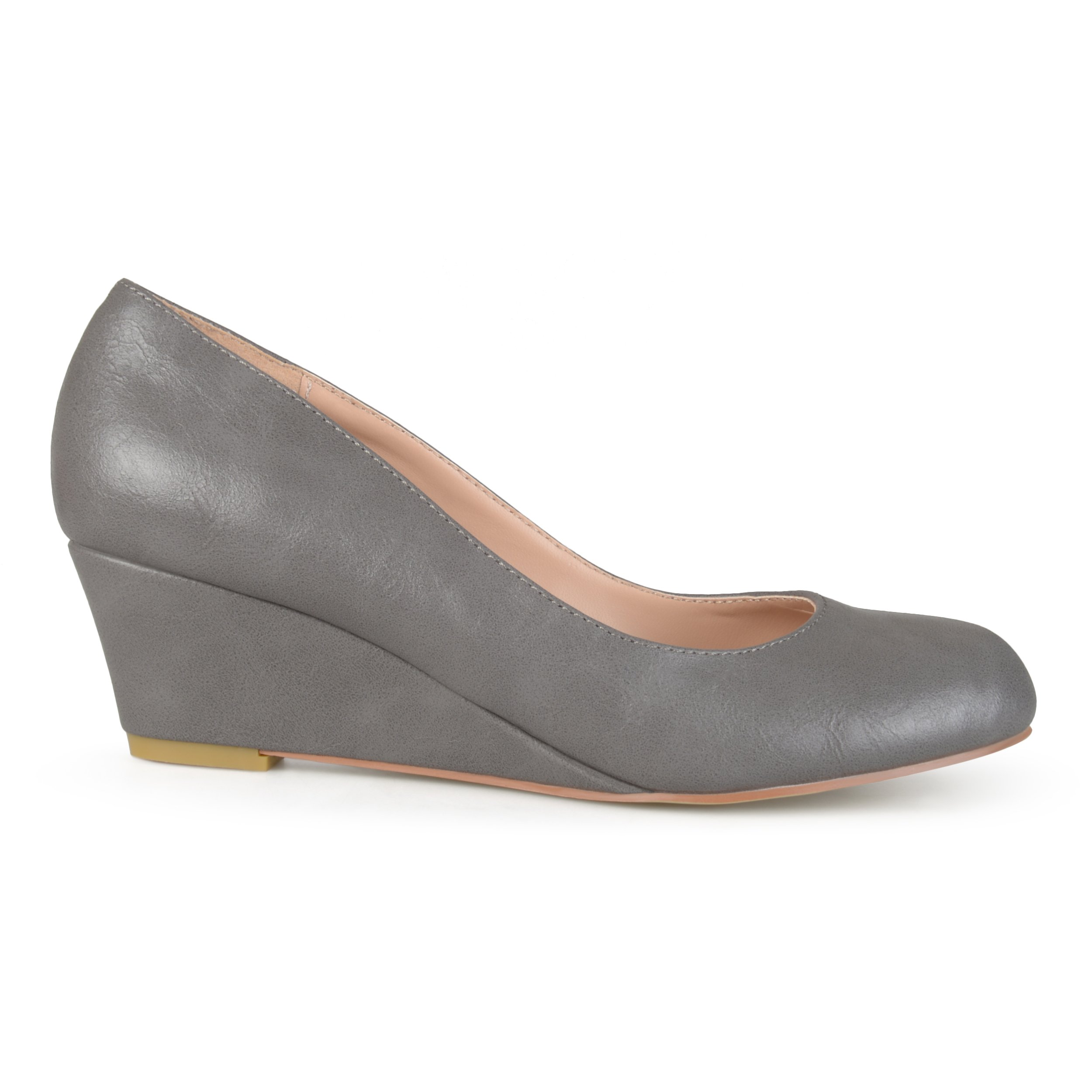 Brinley Co. Womens Round Toe Classic Wedges Grey, 6 Wide US